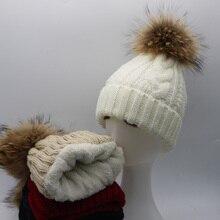 2016 New Womens Warm Fleece Inside Beanie Hats Winter Mink Raccoon Fur Pompom Hat Female Cap
