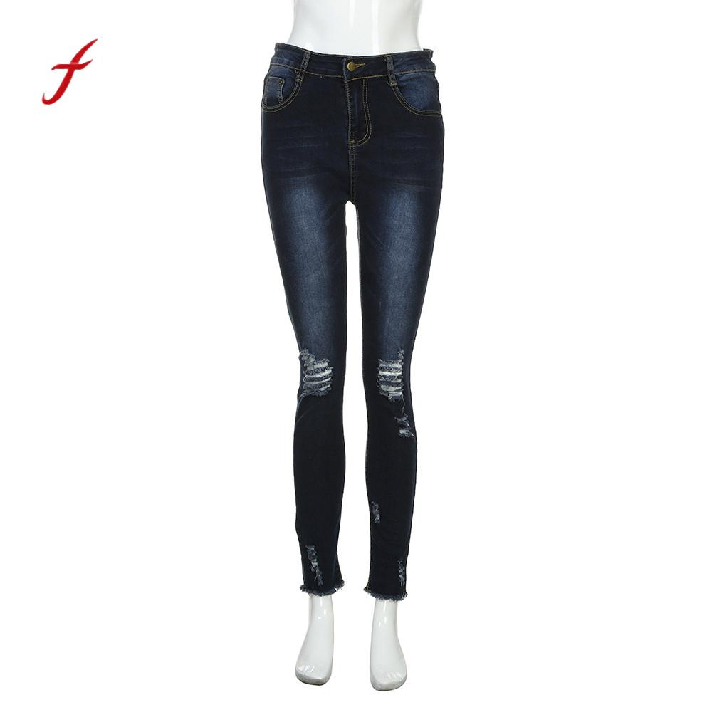 Feitong Women High Waisted Skinny Elastic Denim Pants Spring Summer Big Size Casual Trousers Slim Holes Broken Pencil Jeans