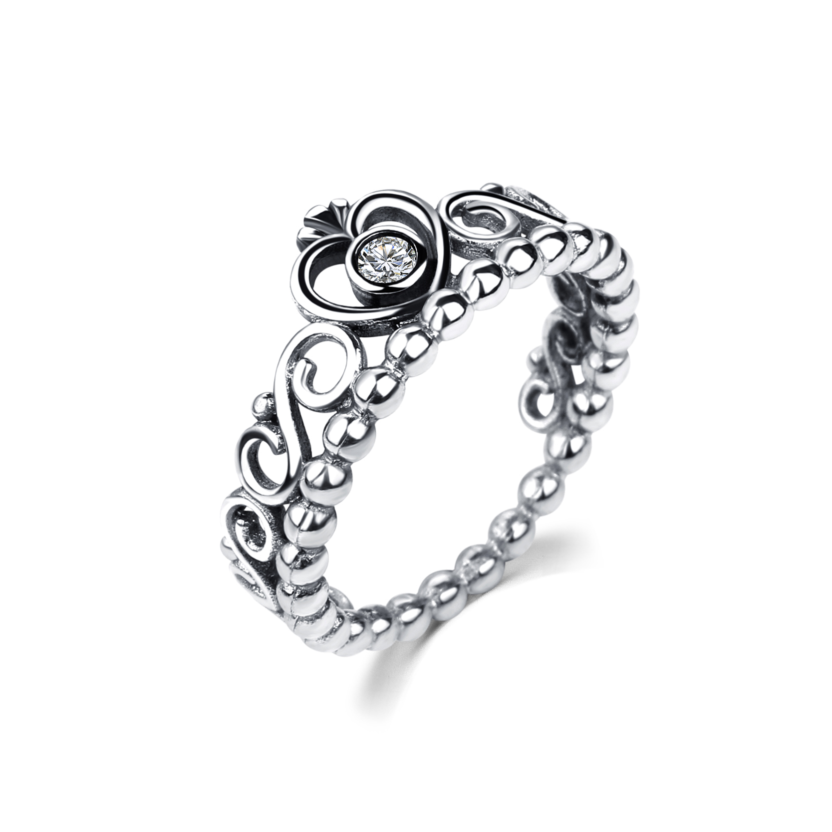 Drole Hollow Vintage Stackable Silver Love Crystal Heart Crown Engagement  Stone Promise Rings For Women Wedding