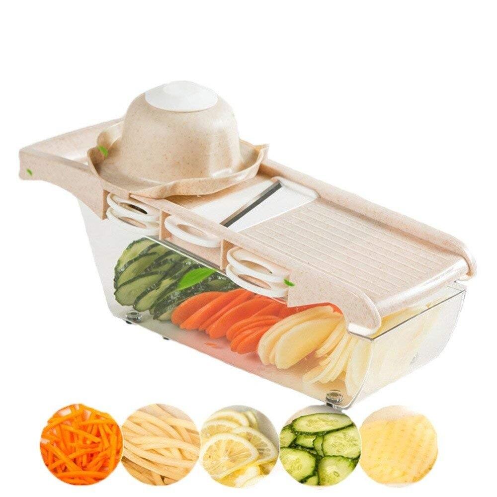 Cocina vegetal Slicer con 6 intercambiables Acero inoxidable mano Protector contenedor de almacenamiento de alimentos fruta cortador Chopper