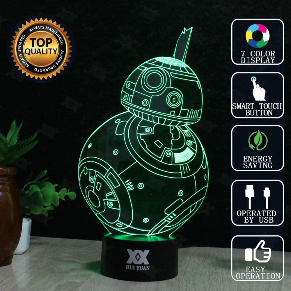 Star Wars BB-8 3D Lamp LED Novelty Night Lights USB Holiday Light Childs Gift Glowing Christmas Present HUI YUAN Brand