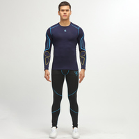 Workout Clothes Set Base Layer Compression Tights Tracksuit Men MMA Weight Lifting Yoga Cycling Gym Winter Elastic Running Suit