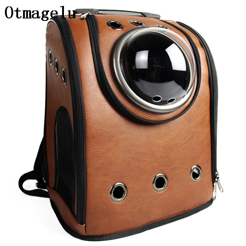 High Quality Leather Space Capsule Pet Cat Backpack Bubble Window for Kitty Puppy Small Dog Carriers Crate Outdoor Travel Bags
