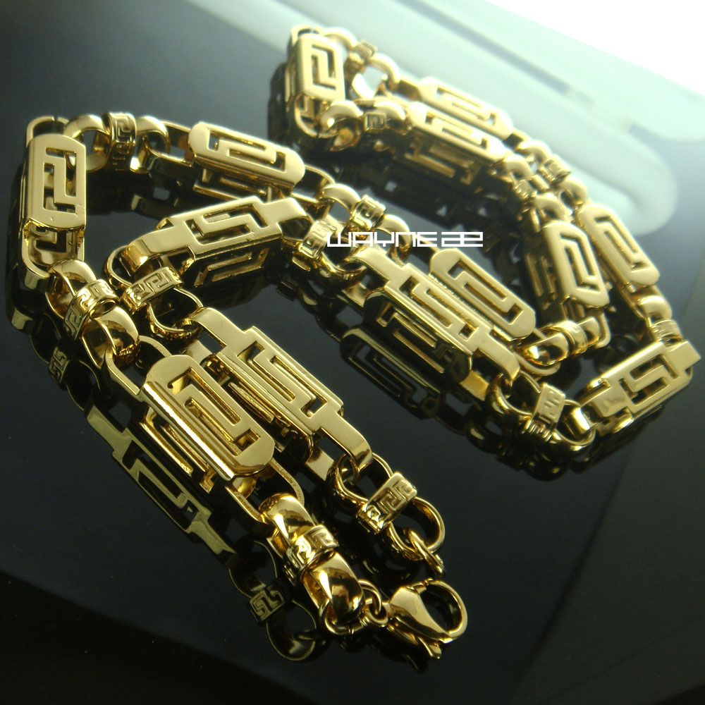 60 см 8 мм отличная нержавеющая сталь Для мужчин золото тон византийское ожерелье цепь N292