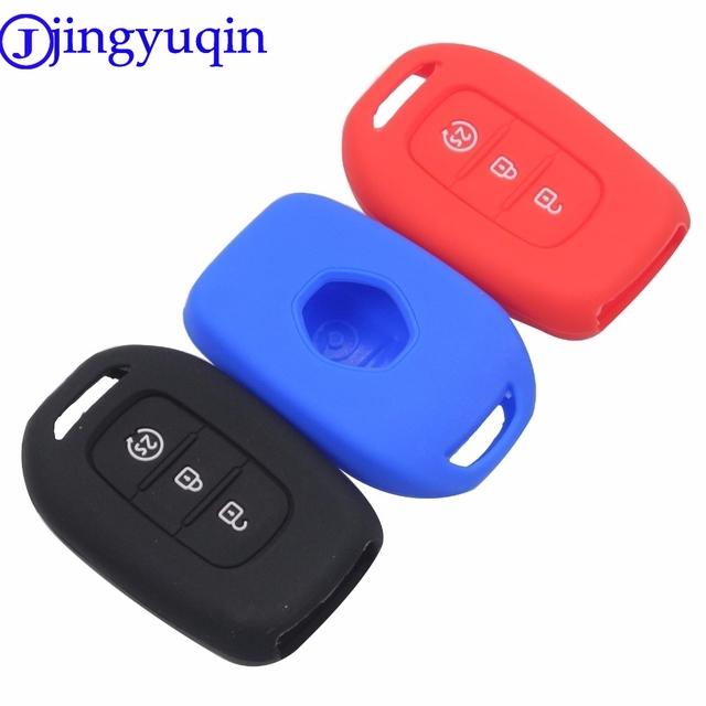 jingyuqin 3 Buttons Silicone Remote Key Fob Case Cover For Renault Duster Sandero Logan Clio Captur Laguna Scen 2015 2016 2017