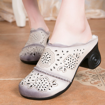 Nice Summer Women Shoes Slippers Thick Heels Sandals Genuine Leather Handmade Hollow Cover Toes Comfotable Women Slides