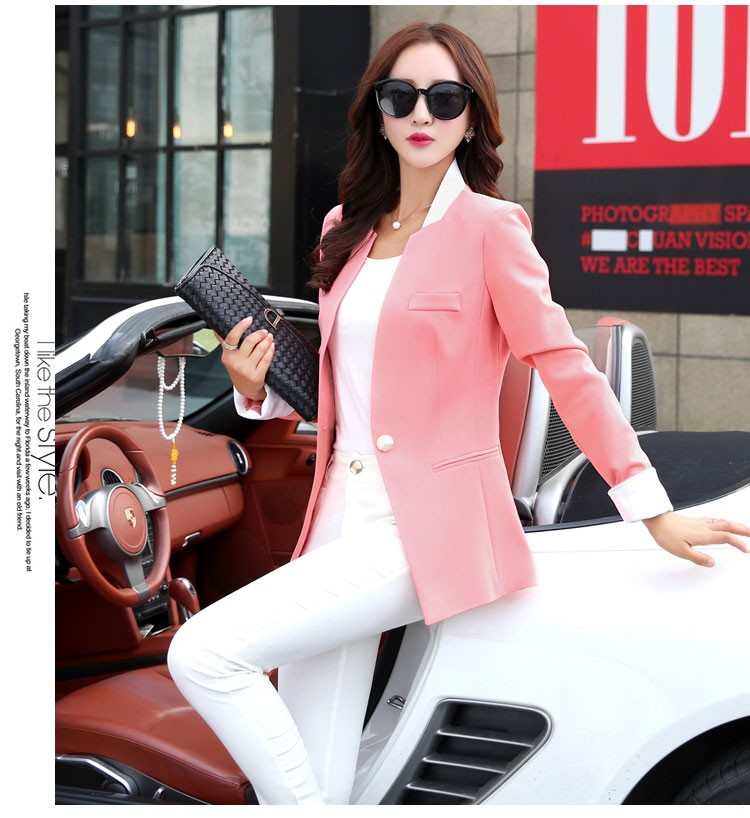Autumn Spring Chic Office Ladies Stand Collar Blazers Pink Black Jackets For Gentle Women Silm Business Casual Wear Jaqueta Feminina bbbb