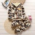 Inverno 2017 moda Britânica camouflage longo-jaqueta de manga comprida + calças roupas de bebê menino 1-2-3-4 anos de idade