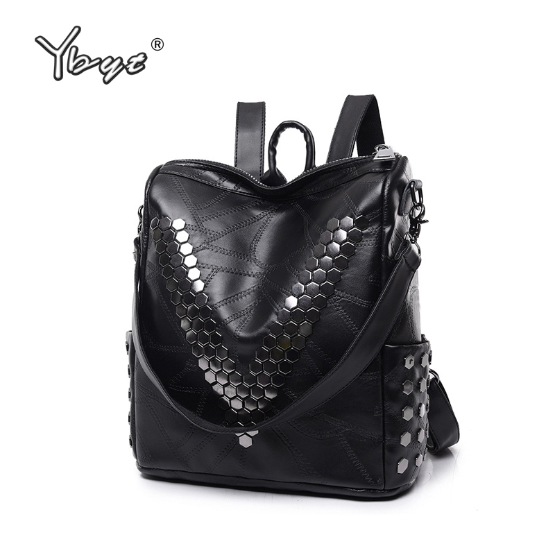 YBYT brand 2017 new PU leather rivet thread women package high quality pouch casual rucksack designer travel bag ladies backpack enopella thread casual pu leather women