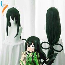 Boku no Hero Academia Tsuyu Asui Cosplay Wig My Hero Academia Women Long Green Synthetic Hair Halloween Party +Wig Cap women in academia