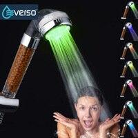 MEOTIYS LED Bathroom Shower Head Chrome Water Temperature Hand Held Shower Head Round Shape Sprayer Save