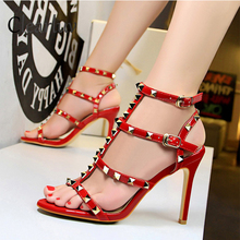 New summer women shoes Star same style Rivet shoes Ankle strap Sexy hollowed sandals with high heels Party shoes  C0740 high quality party red shoes and bag set with pearls hollowed out decoration fashion high heels soft shoes with bag sets b87 13