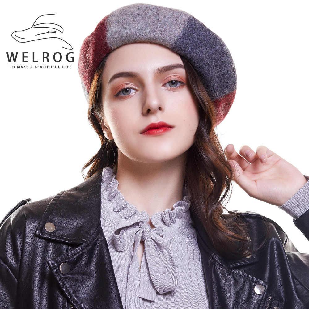 e071727158a24 WELROG Pumpkin Hat Autumn Winter Wool Beret Hat Female Gray Black Casual  Hats Lady Hat Girl