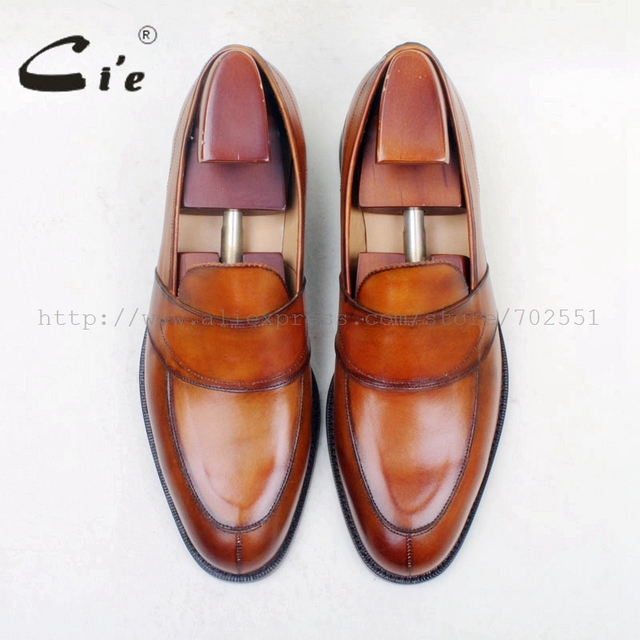 cie Free Shipping Round Toe100% Genuine Leather Outsole Bespoke Cement Craft Handmade Brown Slip-on Men's flat Shoe loafer 162