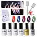 Belen UV LED Cat Eye Gel Polish 5pcs Soak Off Magnetic Gel Polish and Top Base Coat 50 Remover Wrap Free Magnet Stick Magnet Gel