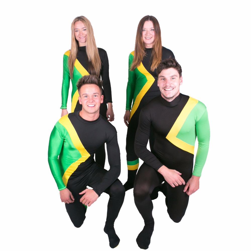 b2bb6d49e11 US $31.05 10% OFF|Plus Size Men's Jamaican Bobsled Team Cool Runnings  Costume Jamaica Bobsleigh Outfit Zip Spandex Full Zentai Bodysuits-in  Zentai ...