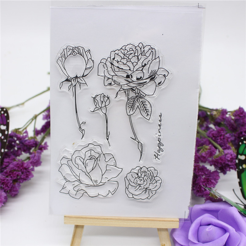 Big Size Pretty Flowers Transparent Clear Stamp DIY Silicone Seals Scrapbooking/Card Making/Photo Album Decorative Accessories loving heart and ballon transparent clear stamp diy silicone seals scrapbooking card making photo album craft cl 285
