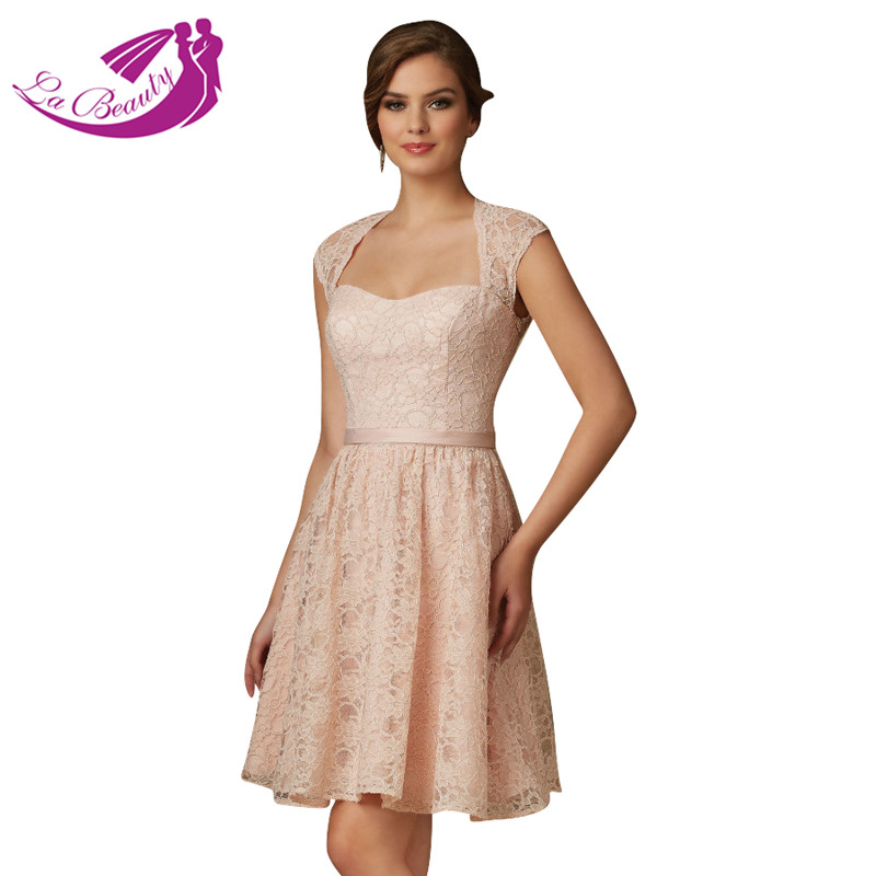 Blush Pink Lace Cocktail Dresses Open Back Mother Of The Bride Dresses  Short Formal Prom Dresses Robe De Cocktail WA634 03be4ae41