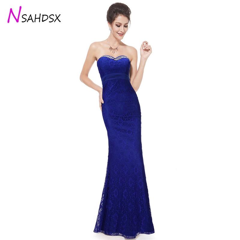 Sexy Lace Party Dress 2018 Summer New Poly Royal Blue High Waist Bra Set Diamond Wedding Banquet Floor Length Vestidos De Fiesta