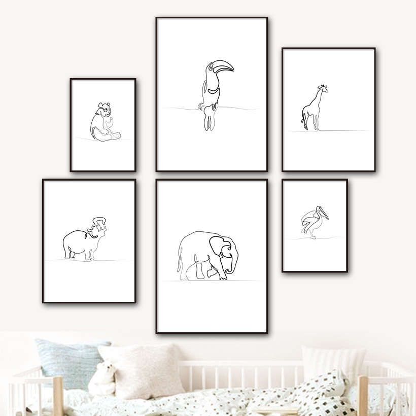 Us 3 02 45 Off Abstract Elephant Hippo Giraffe Bear Bird One Line Posters And Prints Wall Art Canvas Painting Wall Pictures For Kids Room Decor In