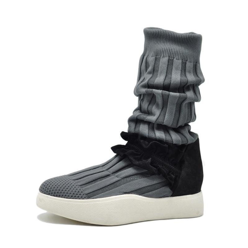 À Mujer La mollet Minimalistes Mi Bottes Chaussures Tricoté Artmu Robe D'origine Femmes Botas Main Sneakers Gris CRtwqF