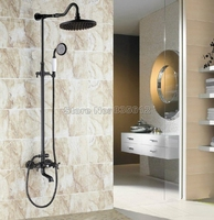 Wall Mount Bathroom Black Oil Rubbed Bronze Rain Shower Faucet Set With Round Shower Head Dual
