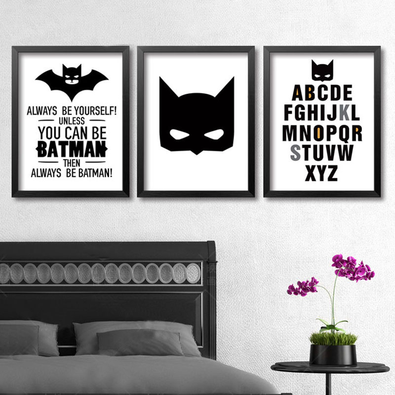 Wall Decor For Guys Room : Aliexpress buy superhero batman wall art modern