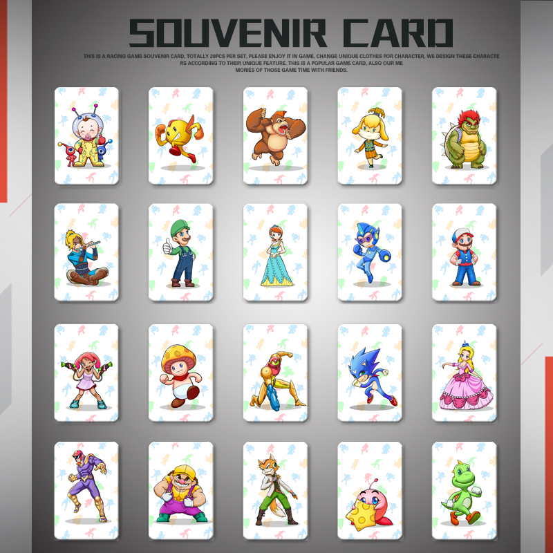 20pcs NFC Tag Cards For Switch And Wii U--Mario Kart 8 Deluxe  NTAG215 Chip Cards