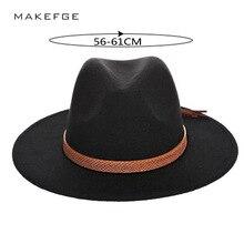 Nuevo Otoño e Invierno de los hombres de gran tamaño sombreros de vaquero fedora  gorras 60 cm sombrero clásico furry bufanda de . 655adc06abd3