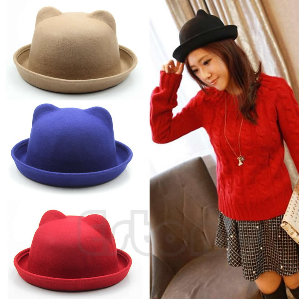 Chic Women Parent-Child Ear Cap Derby Cat Wool Fedora Hats