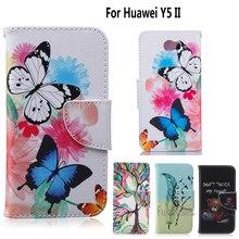 Y5 II Caso de La Cubierta del Caso del tirón para Huawei coque para fundas Huawei Y5II 2 Cubierta de 5 pulgadas + Soporte Titular de la Tarjeta caso fundas