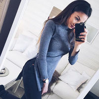 Women Ladies Clothes Dresses Long Sleeve Knitted Sweater Clothing Outfits Mini Dress Slim Pullover Casual Fashion