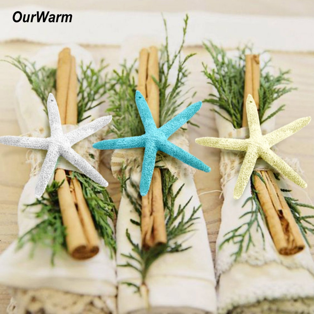 OurWarm 2Pcs Wedding Gifts for Guests 10cm Artificial Resin Starfish Sea Star DIY Home Ornaments Beach Theme Souvenirs