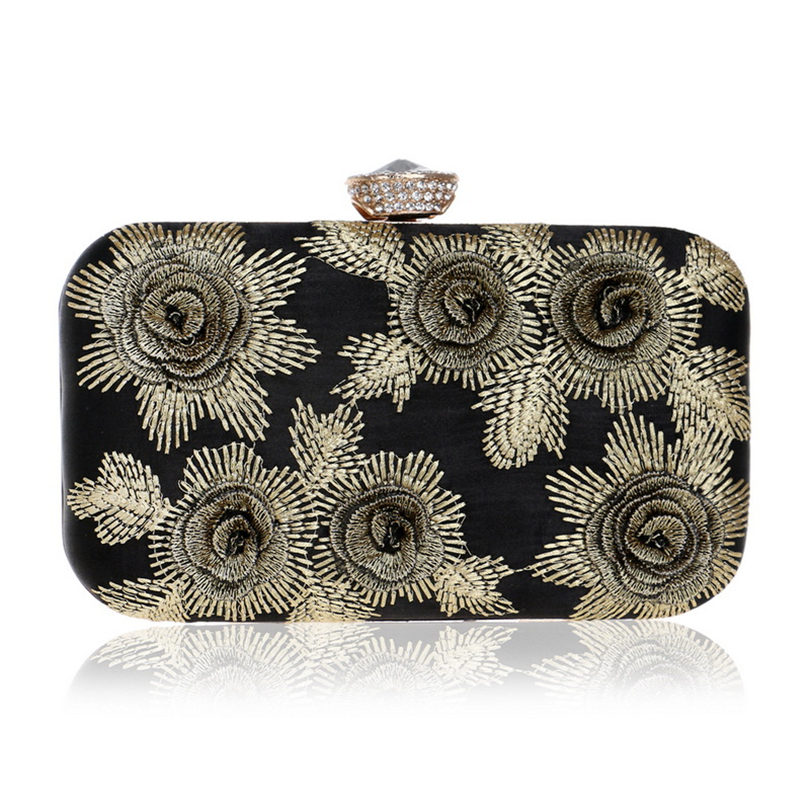 Chain Clutch Messenger-Bag Embroidery Wedding-Handbags Shoulder Printed Floral Party