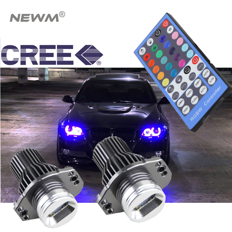 Free ship mobile IR control rgb e90 led angel eyes led marker kit Cree chips RGBW colors changing for BMW E90 E91 12v 24v 20w cree chips led angel eye light halo lights error free for bmw e90 e91 7000k white 1250lmcree chips led marker lights