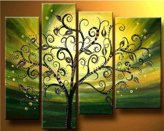 4 p wall art green tree of life handmade oil painting on canvas for ...