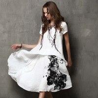 2019 Cotton Linen Summer Dress Women Loose Plus Size Casual Dress Work Wear Vintage Print Beach Sundress Dresses Vestidos Dress