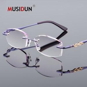 Image 2 - الماس قلص بدون شفة نظارات للقراءة النساء عالية الجودة موضة العلامة التجارية الفاخرة مكافحة الضوء الأزرق طويل النظر سيدة النظارات Q104