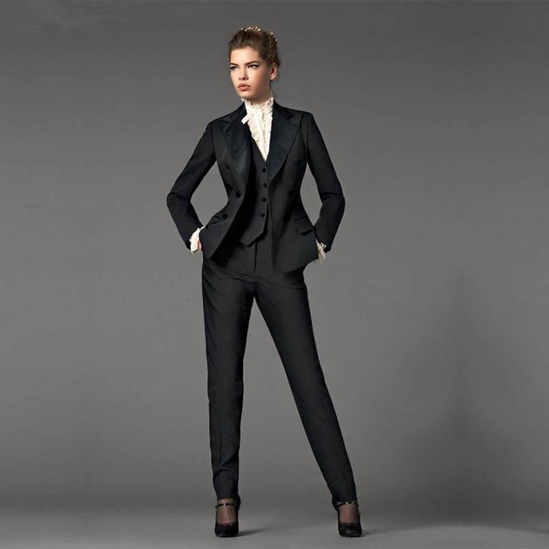 Куртка + брюки + жилет дизайн черные женские деловые костюмы Блейзер Женский Офис форма 3 шт. костюм дамы зимний формальных костюмы