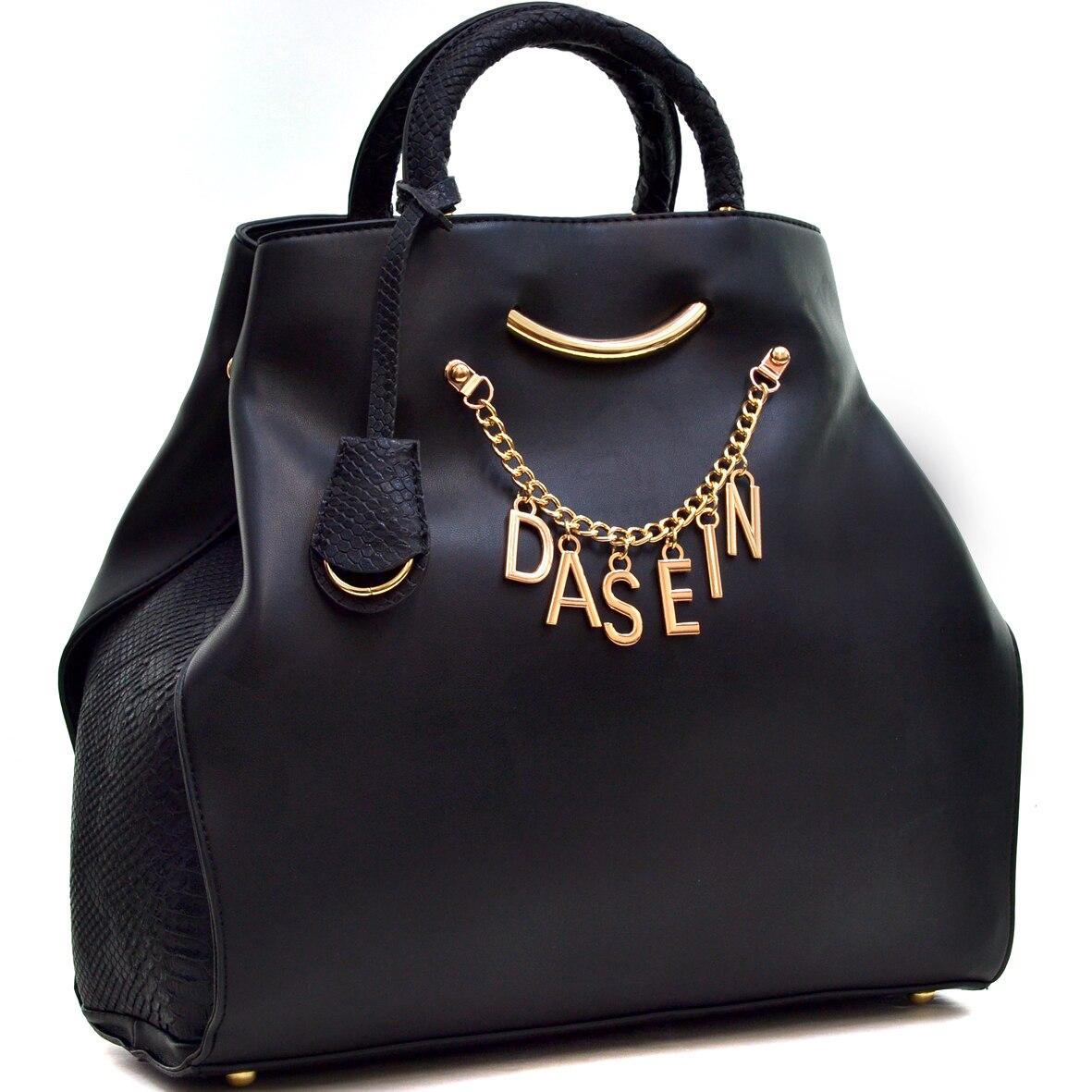 Dasein Women's Designer Signature Top Zip Ring Tote Bag Satchel Handbag Purse with Embossed Trim pompom trim crop cami top with shorts