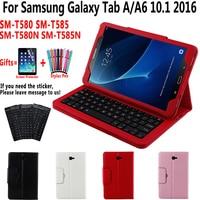 Detach Bluetooth Keyboard Case for Samsung Galaxy Tab A A6 10.1 2016 SM T580 T585 T580N T585N Keyboard Cover Funda + Film + Pen