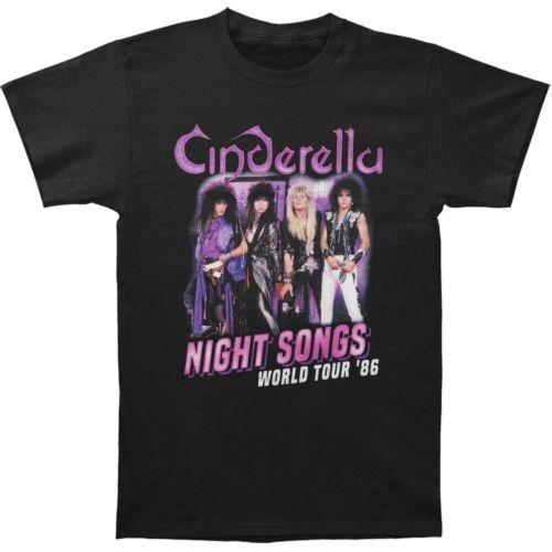 Mens Cinderella Rock Band Night Songs Tour Black Fashion