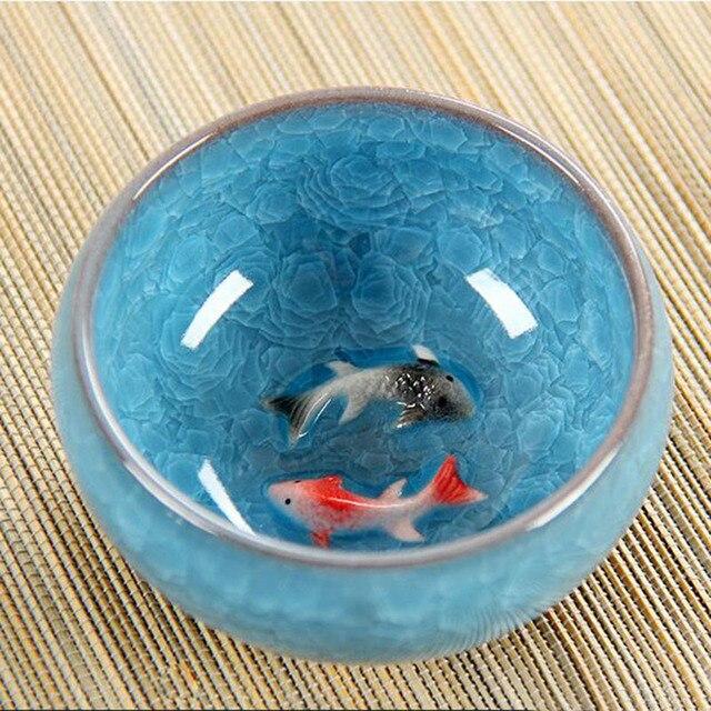 Ледяная глазурь керамический кунг-фу чайный набор анаглиф Рыбная чашка на одной чашке образец чашки чая