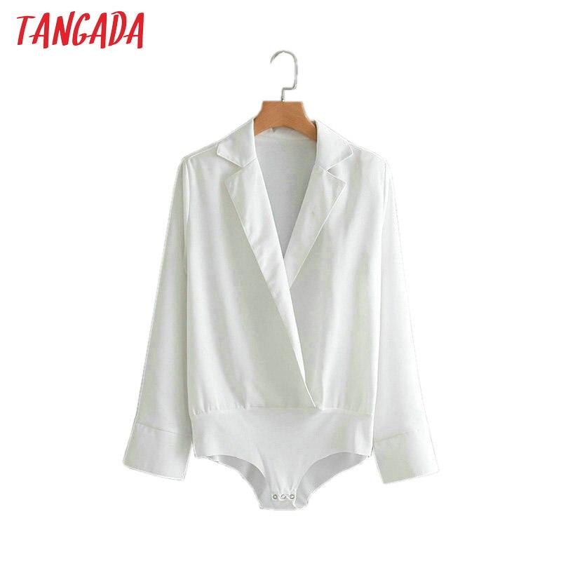 Tangada Fashion Women Black White Body Blouse Sexy Turn Down Collar Bodysuit OL Shirt Long Sleeve Playsuit Tops 2XN43
