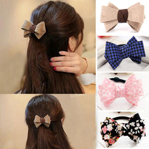 M MISM New Retro Classic Print Bow Knot Elastic Hair Band Hair Accessories Rubber Gum Hair Holder Scrunchy For Women Girls