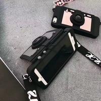 Mode Cool 3D Rétro Caméra Portefeuille Carte support à Téléphone Cas Pour iPhone 7 8 6 6 s Plus X en Silicone Souple Couverture Arrière Avec sangle