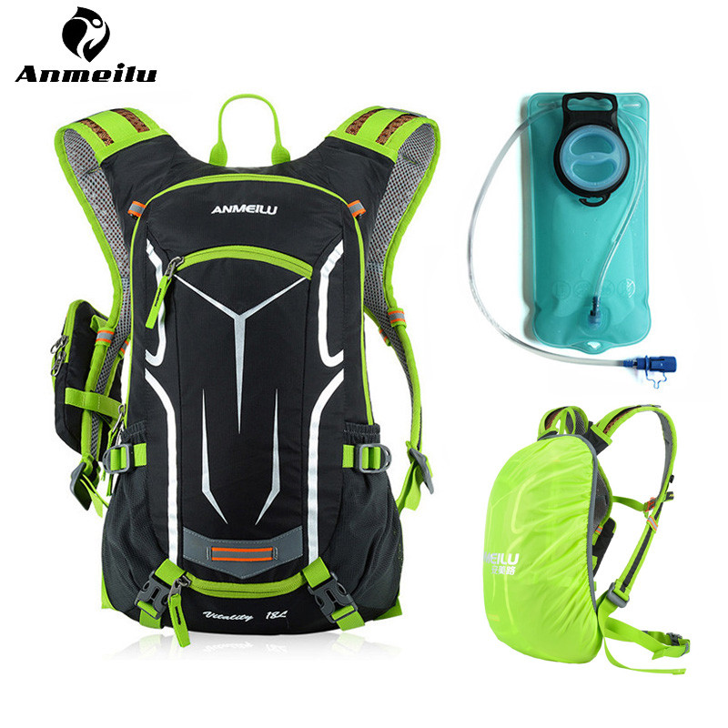 Anmeilu sac à eau 2L TPU Sport de plein air vessie d'eau 18L imperméable en Nylon vélo vélo sac à dos d'hydratation + housse de pluie