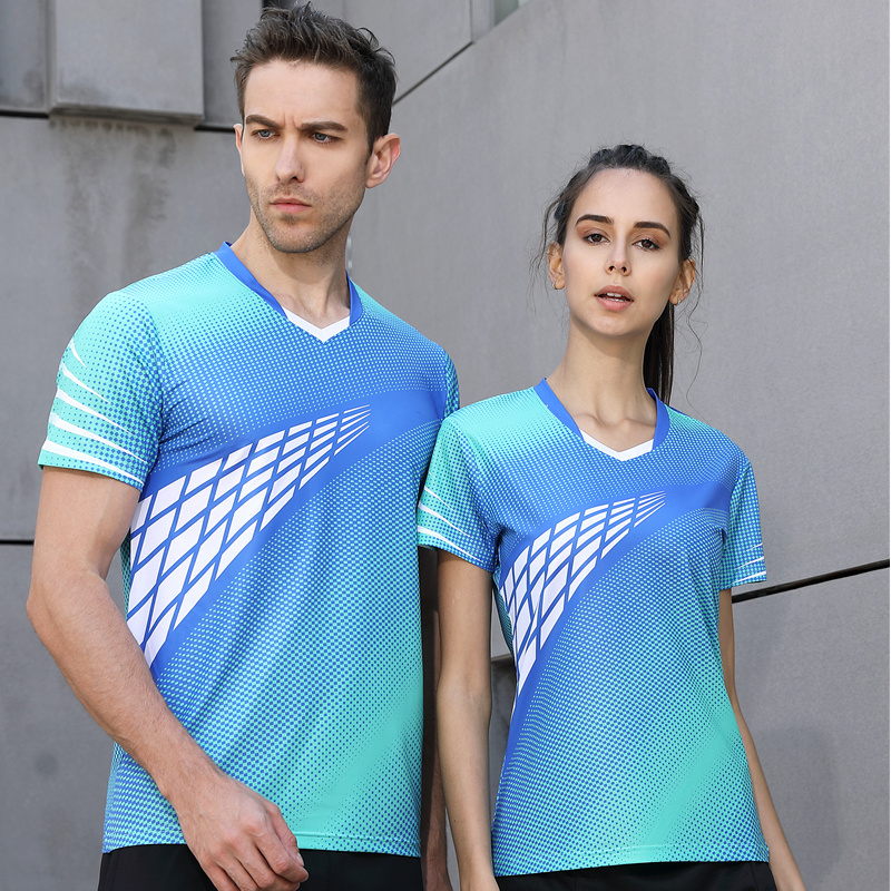 High quality 2018 Sky blue Running Sport Quick Dry breathable badminton shirt,Women/Men table tennis Team game Fitness T Shirts
