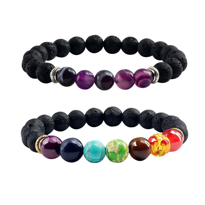 Fashion Men Bracelet 7 Chakra Volcanic Lava Stone Beads Agates Purple Red Thread Bangles Chain Wristband bracelets women Jewelry men beaded bracelet red