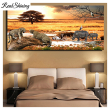 Large full square round diamond painting African Grassland Sunset Cheetah And Rhinoceros 5d diy embroidery decor FS4430